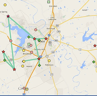 Mesh nodes in McLennan County